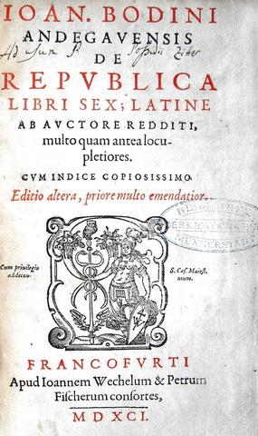 Jean Bodin - De republica libri sex - 1591 (video)