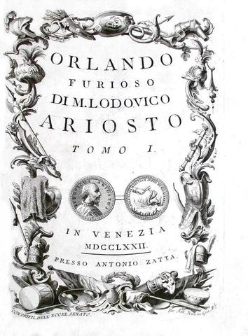 Un capolavoro dell'editoria veneziana: Ludovico Ariosto - Orlando furioso - Zatta 1772 (62 tavole)