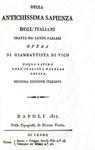 Giambattista Vico - Della antichissima sapienza degl'italiani - Napoli 1817 (rara seconda edizione)