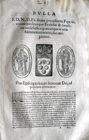 Blado: bolla di Pio IV sui benefici ecclesiastici