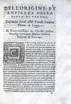 Saraina - Le historie e fatti de' Veronesi - Dell'origine et ampiezza della città di Verona - 1586