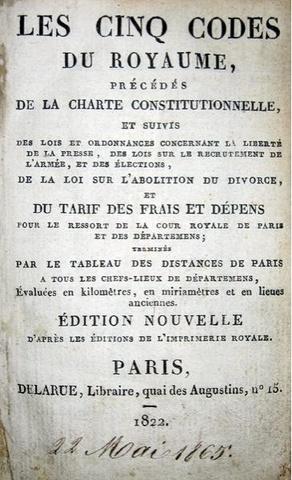 Les cinq codes du Royaume - 1822