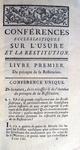 Jean Le Semelier - Conferences ecclesiastiques de Paris sur l'usure - Paris 1775