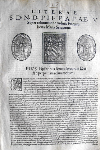 Ordine dei Servi di Maria - Lettera di Pio V