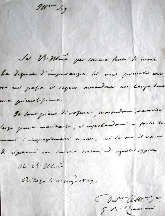 Zannoni - Lettera autografa a Leopoldo Ricasoli