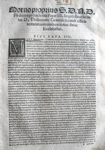 Bolle sul notariato nello stato pontificio