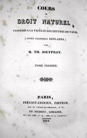Jouffroy - Cours de droit naturel - 1834