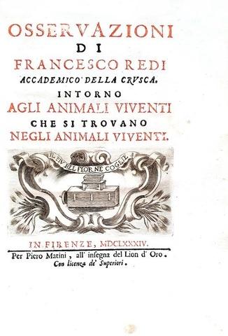 Francesco Redi - Osservazioni intorno agli animali viventi - 1684 (con 26 tavole - prima edizione)