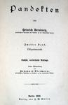La Pandettistica tedesca: Dernburg - Pandekten - Berlin 1900