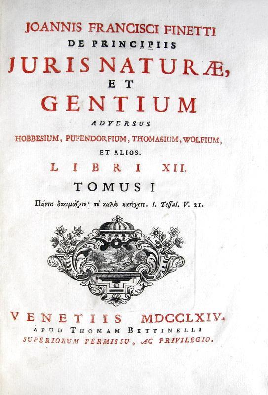 Diritto naturale:Finetti - De principiis juris naturae et gentium adversus Hobbesium et alios - 1764