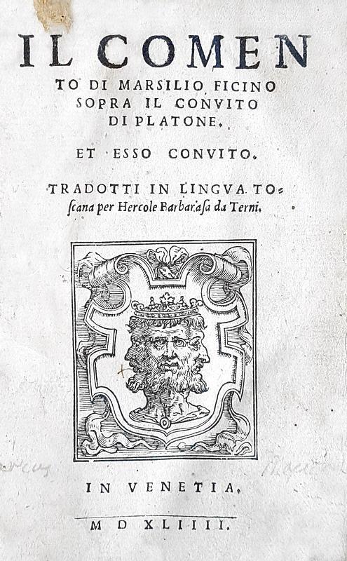 Platone - Il Convito con il commento di Marsilio Ficino - Venezia 1544