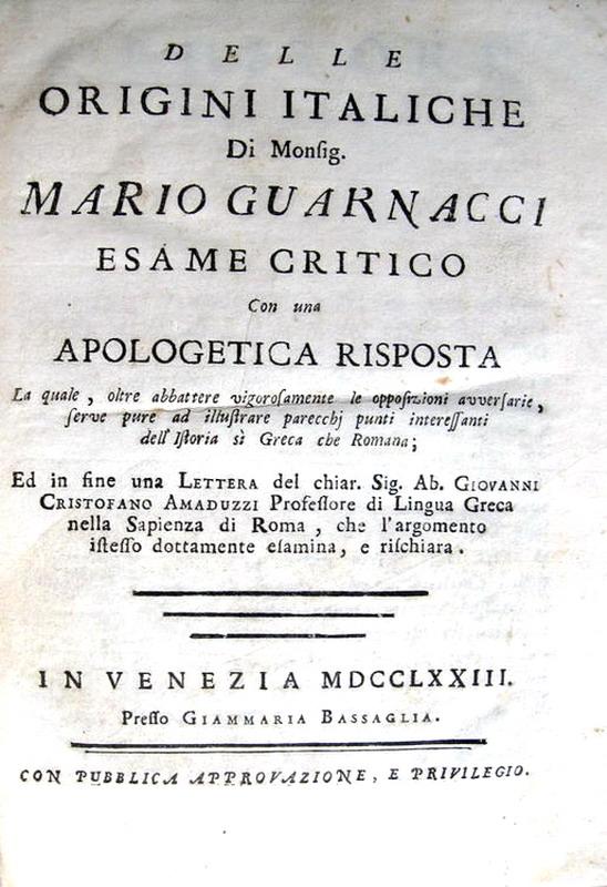 Mario Guarnacci - Delle origini italiche - 1773