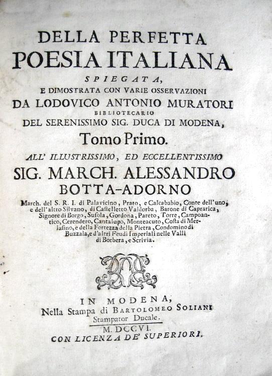 Ludovico Antonio Muratori - Della perfetta poesia italiana - Modena 1706
