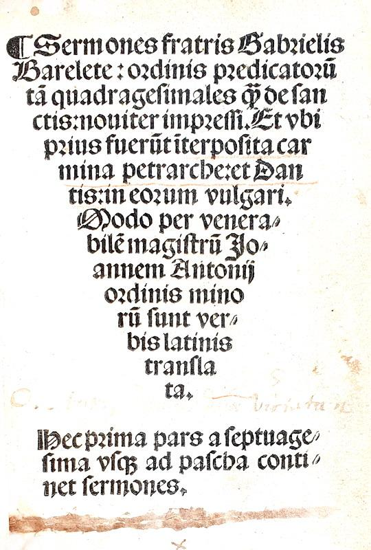 Gabriele Barletta, Sermones - Niccolò di Lira, Preceptorium 1505/24 (video)