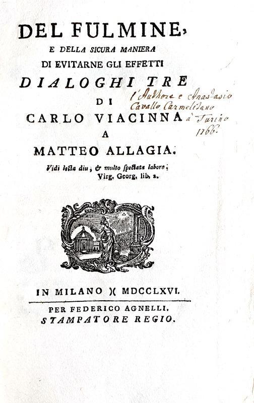 La fisica nel Settecento: Atanasio Cavalli - Del fulmine - Milano 1766 (prima edizione)