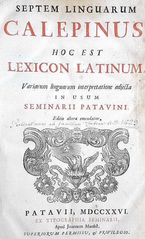 Calepinus - Septem linguarum hoc est lexicon latinum - 1726