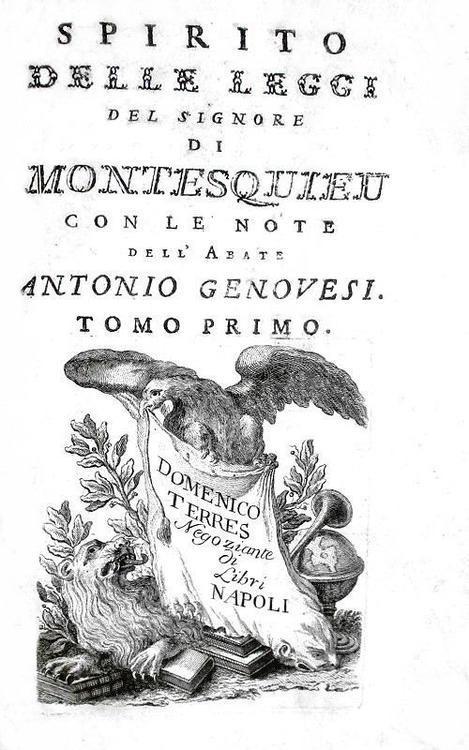 Un simbolo dell'Illuminismo: Montesquieu -  Lo spirito delle leggi 1777 (prima edizione italiana)