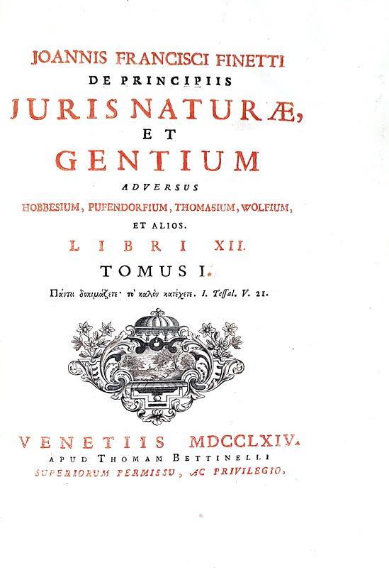 Diritto naturale: Finetti - De principiis juris naturæ et gentium adversus Hobbesium et alios - 1764
