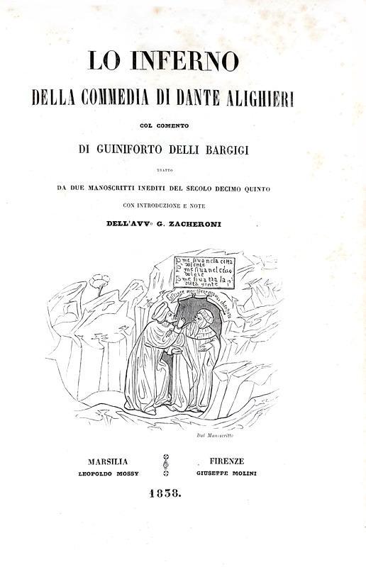Lo Inferno della Commedia di Dante col commento di Guiniforto delli Bargigi - 1838 (12 belle tavole)
