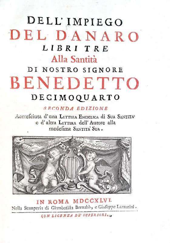 Scipione Maffei - Dell'impiego del denaro libri tre - Roma 1746 (seconda edizione)