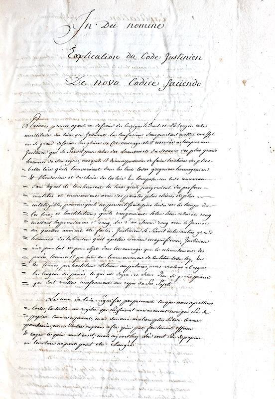Diritto romano: Explication du Code Justinien. De novo Codice faciendo - 1767 (in folio)
