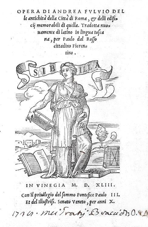 Una guida cinquecentesca di Roma: Andrea Fulvio - Opera delle antichità della città di Roma - 1543