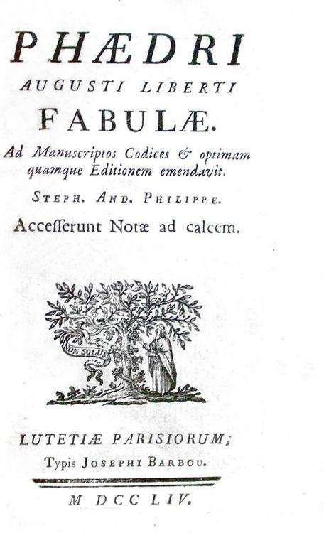 Le favole di Fedro: Phaedrus - Fabulae - Paris, Barbou 1754 (con numerose incisioni in rame)