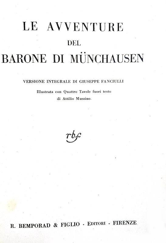 Rudolf Erich Raspe - Le avventure del barone di Munchausen - 1930 (con 4 belle tavole di Mussino)