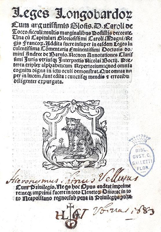 Rarissima edizione della Lombarda: Leges Longobardorum cum argutissimis glosis - Venezia, Sessa 1537