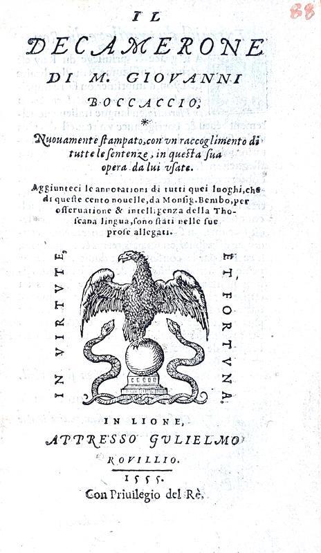 Boccaccio - Il decamerone - Lione, Rovillio 1555 (prima edizione francese - con 11 illustrazioni)