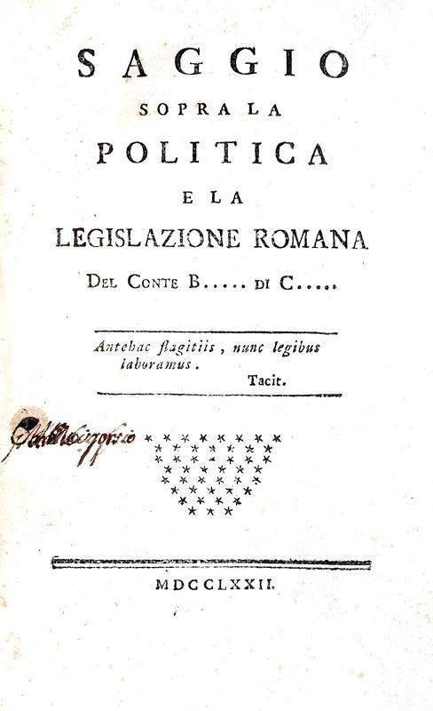 Illuminismo: Botton - Saggio sopra la politica e la legislazione romana - 1772 (rara prima edizione)