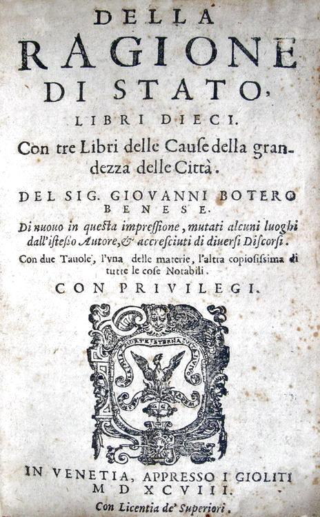 Giovanni Botero Della ragione di Stato libri dieci