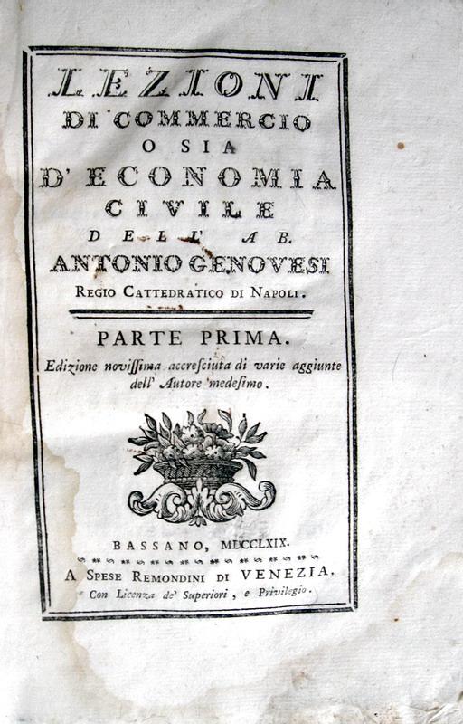 Antonio Genovesi - Lezioni di commercio o sia d'economia civile - 1769