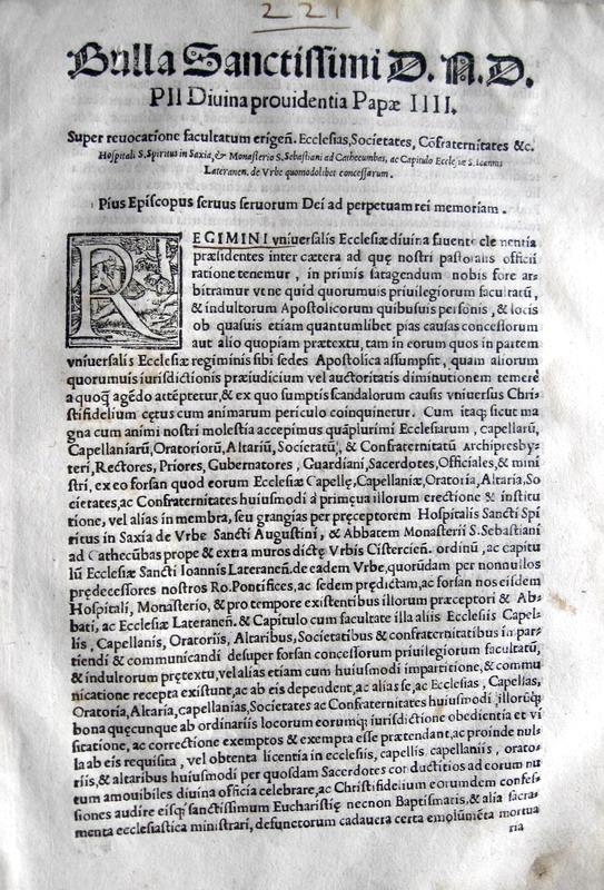 Blado: bolla di Pio IV sulle chiese di Roma