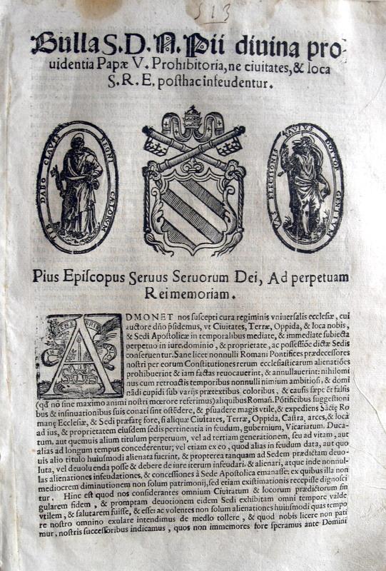 Blado - Bolla di Pio V su feudi e civitates