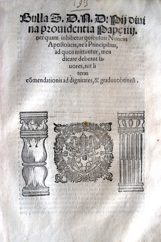 Blado - Bolla di Pio IV sui nunzi apostolici