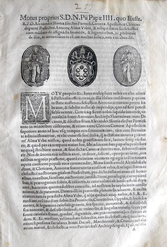 Pio IV disciplina annona e approvvigionamento di merci