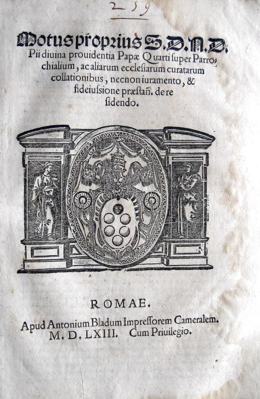 Pio IV disciplina alcuni benefici ecclesiastici