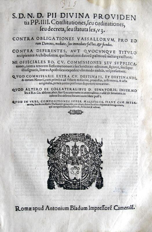 Bolle di Pio IV sulle armi e sul diritto criminale