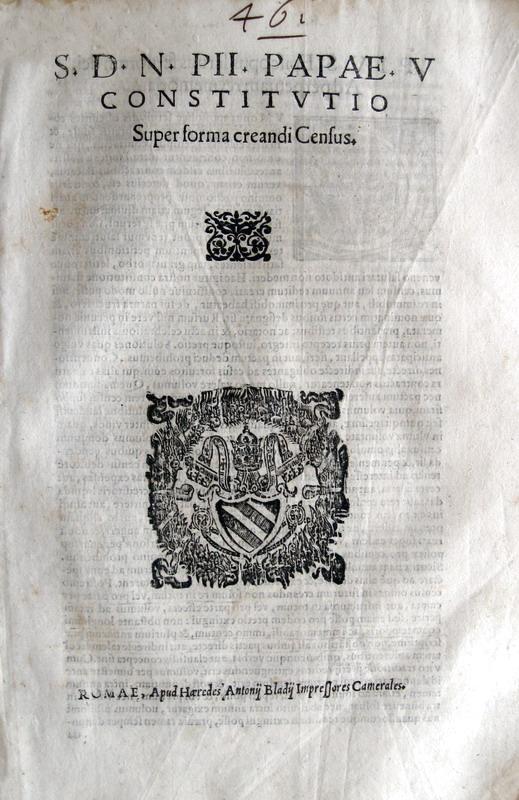 Costituzione di Pio V sui contratti di censo