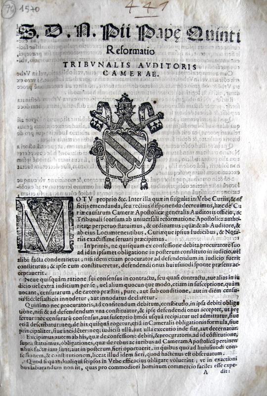 Pio V riforma la Camera Apostolica