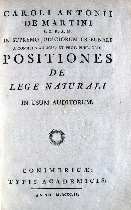 Karl Anton von Martini - Positiones de lege naturali - 1802