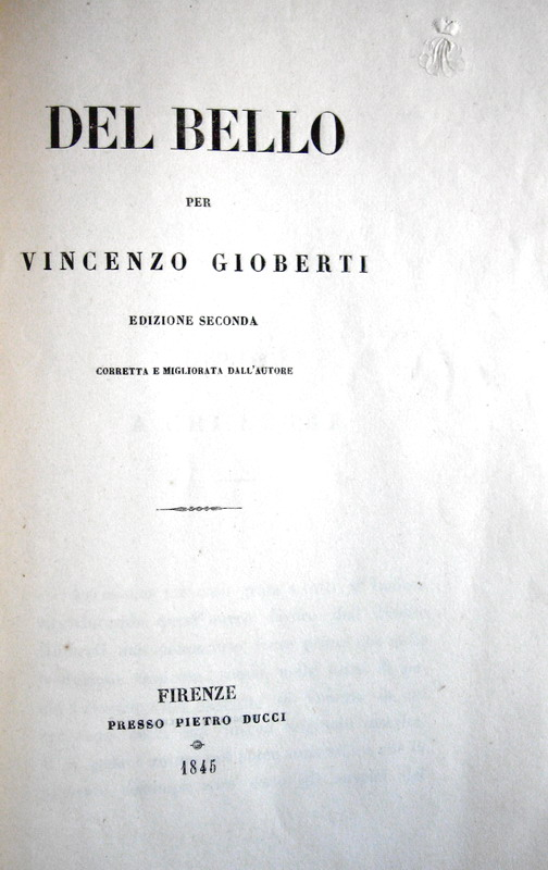 Vincenzo Gioberti - Del bello - 1845