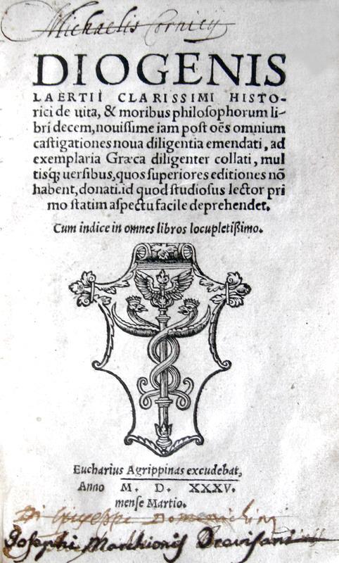 Diogenes Laertius - De vita et moribus philosophorum libri decem - 1535