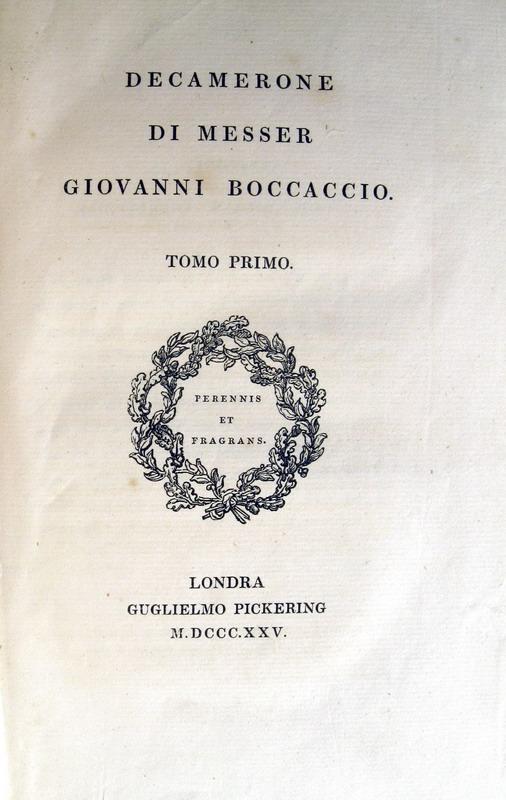 Decamerone di messer Giovanni Boccaccio - Londra 1825 (edizione curata da Ugo Foscolo)