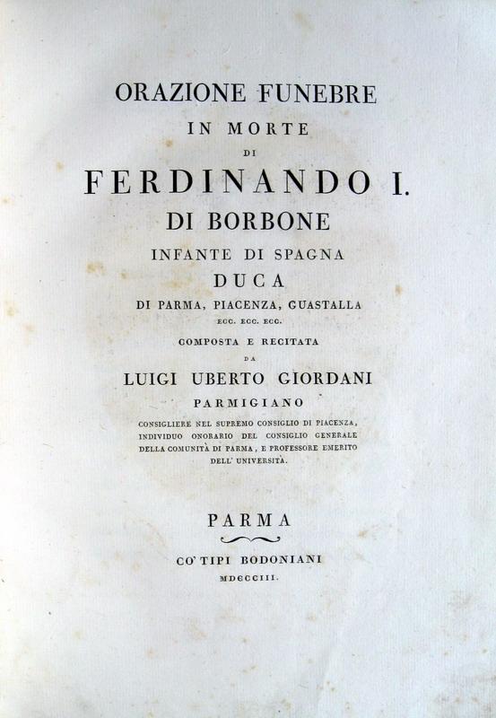 Orazione funebre in morte di Ferdinando I di Borbone - 1803