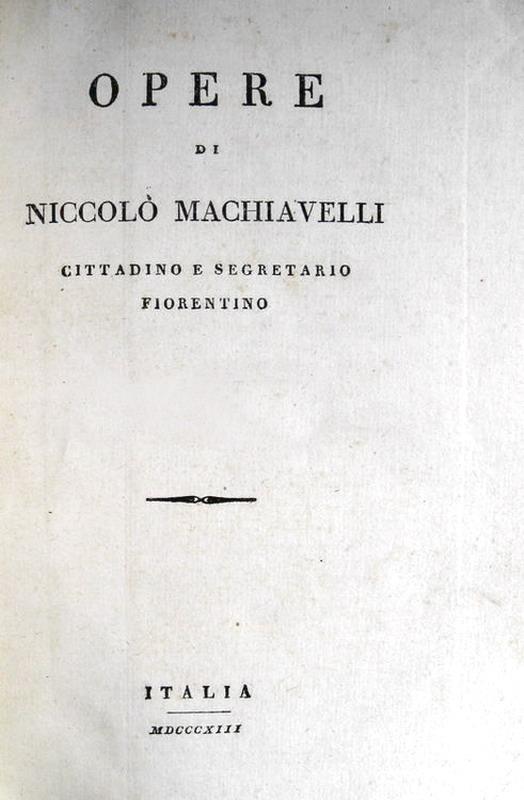 Niccolò Machiavelli - Opere - Firenze, Piatti 1813 (otto volumi)