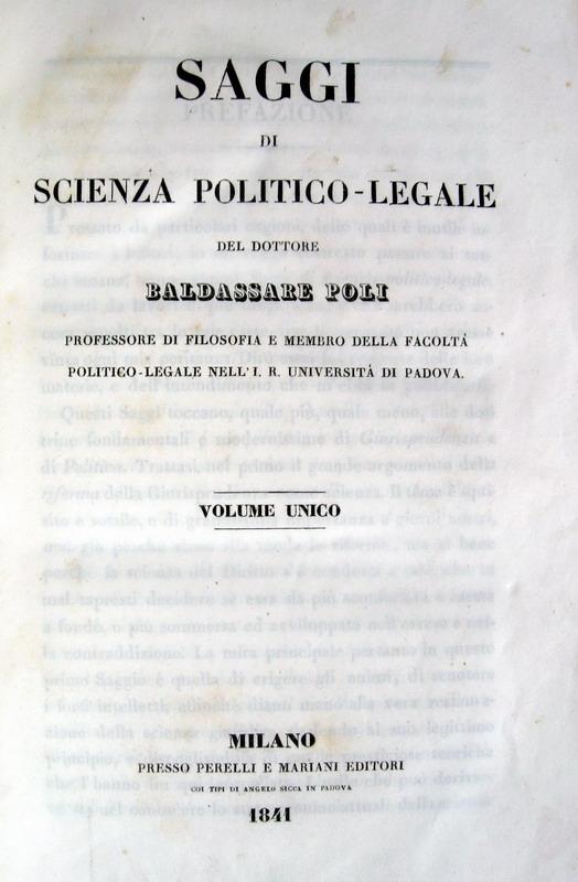 Baldassarre Poli - Saggio di scienza politico-amministrativa - 1841
