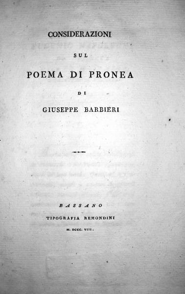Giuseppe Barbieri - Considerazioni sul poema di Pronea