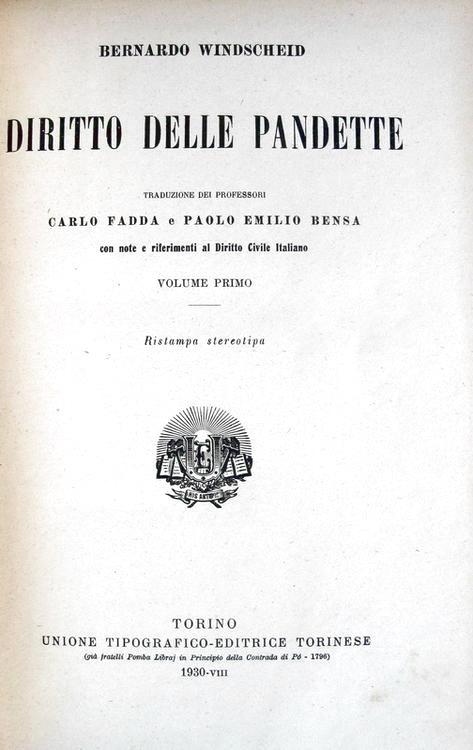 Bernhard Windscheid - Diritto delle Pandette - 1930